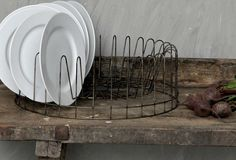 Large Round Wire Plate Rack - From Antiquefarmhouse.com - http://www.antiquefarmhouse.com/current-sale-events/wire-decor/large-round-wire-plate-rack.html