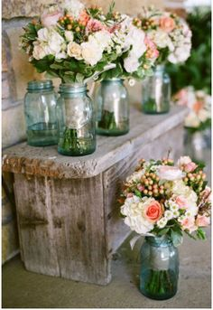 ball jars, blue mason jars, bench, centerpiec, color, tinted mason jars, bridesmaid bouquets, flower, barn wood