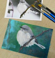 A Little Birdy Love painting by gail Schmidt at shabby cottage studio