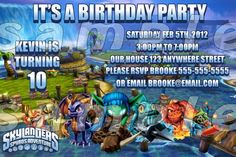 Skylander 4x6 Personalized Birthday Party Invitation