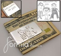 Sterling silver money clip featuring your kids art