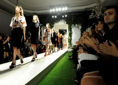 On the Mulberry catwalk for the SS14 show.