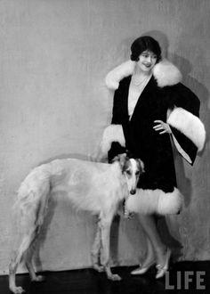 A 1930's model and a #borzoi