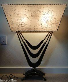 VTG 50s MAJESTIC LAMP FIBERGLASS SHADE MID CENTURY MODERN RETRO ATOMIC EAMES ERA