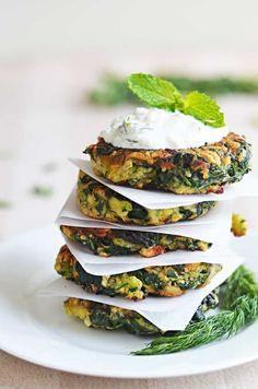 Zucchini, Feta, and Spinach Fritters with Garlic Tzatziki!!  | blog.hostthetoast.com