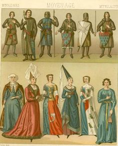 12th-15th Century French dress from Racinet.