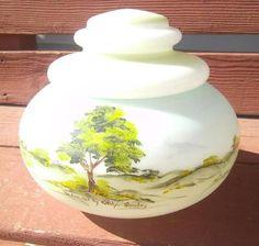 Vintage Fenton Milk Glass Hand Painted Signed Carolyn Shockey Candy Dish Jar | eBay