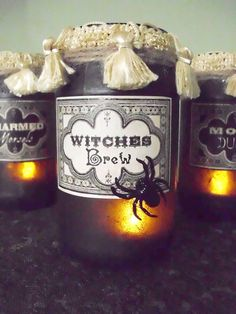 Vintage Potion and Spell Jars for Halloween (make your own!)