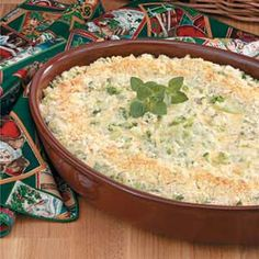 "Makeover Creamy Broccoli Casserole from Taste of Home:  This recipe is ""healthy"" and ""diabetic friendly""."