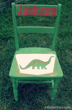 Dino Chair DIY - shows how to use your Silhouette machine to make your own custom stencils!