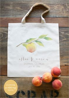 custom peach wedding tote