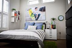 Clean, simple teen boy bedroom