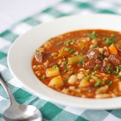 Hearty Soup made out of beef, bacon, potatoes, carrots, cannellini beans, barley, corn and celery