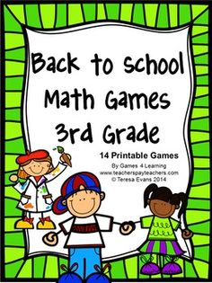 Back to School Math Games Third Grade by Games 4 Learning - This collection of back to school math games contains 14 printable games that review a variety of second grade skills. $