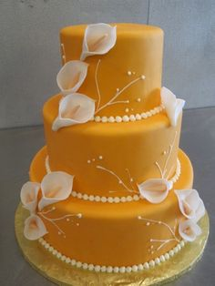 fall wedding cakes, calla lily cake, orange weddings, calla lilli, oranges, pastel colors, yellow cakes, flower, calla lili