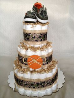 Camouflage Traditional Diaper Cake by BabyBootyDiaperCakes on Etsy, $60.00
