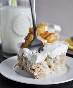 Banana Bread Tres Leches Cake via @howsweeteats/ // #banana #bananabread #recipe