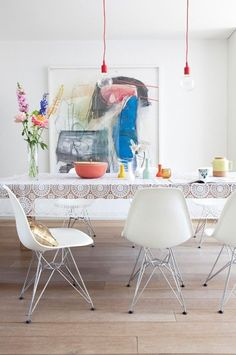 dining areas, interior design, dining rooms, dine room, eam, tablecloth, color, art, side chairs