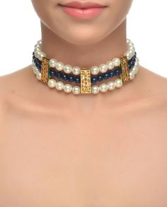 Pearl Choker with Blue Stone Beads #Jewelry #Fashion #New #Stones #Studded #Ethnic #Indian #Traditional