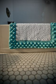 Robin's Egg Blue Bubble Bath Mat by theblackwoodcottage on Etsy, $64.00