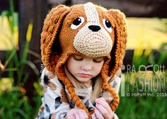 Handmade Crochet Coco the Spaniel Puppy Dog Animal Hat for boys and girls of all ages www.irarott.com