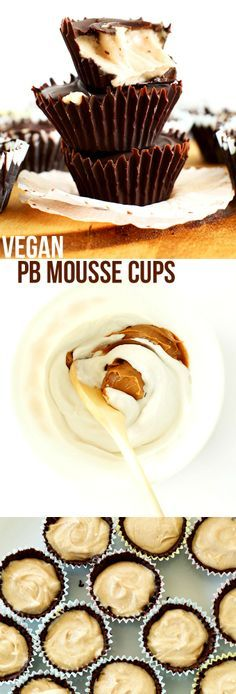 5 ingredient VEGAN Peanut Butter MOUSSE Cups! Crunchy chocolate shell, creamy PB mousse center! #vegan #glutenfree