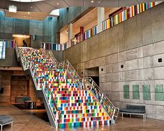 Sara Hughes, United We Fall, 2008, vinyl installation for the stairs and lobby, Christchurch Art Gallery Te Puna o Waiwhetu, Christchurch, New Zealand. Photography: Courtesy of the artist and Gow Langsford Gallery
