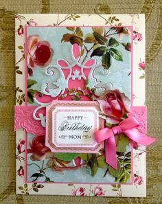 "Handmade Anna Griffin Vintage ""Happy Birthday Mom"" Greeting Card"