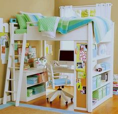Super organized child's (or pre-teen) room, and the colors are so cheerful!