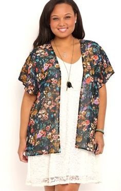 Deb Shops Plus Size Short Sleeve Watercolor Floral Print #Kimono with Strap Back $18.75