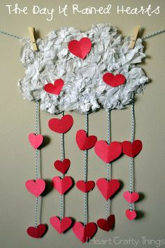 Kids Valentine's Craft to go along with The Day It Rained Hearts by Felicia Bond.--via I Heart Crafty Things diy ideas, valentine crafts, craft kids, valentine day crafts, kids diy, diy crafts, diy valentine's day, craft ideas, book crafts
