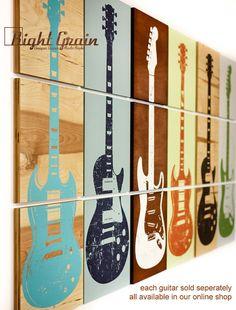 Guitar Art on 3 Wood Panels