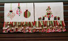 Colorful Retro Christmas Dishtowels