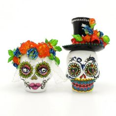 Sugar Skull  Wedding Cake Topper, too cute!!