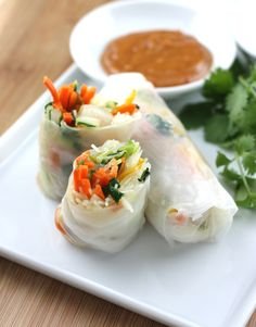 Shrimp Spring Rolls...LOVE these!!!! We used English cucumber instead of bell pepper in ours..they are also tasty w/leftover grilled, baked or poached salmon...add a little Asian BBQ sauce...YUM