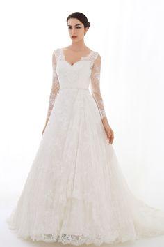 Bridal dress with long lace sleeves, open back --LOUISA | WANLU BRIDAL