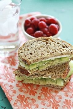 Cucumber, avocado, turkey, and laughing cow cheese sandwich!   I love me some Avocado!