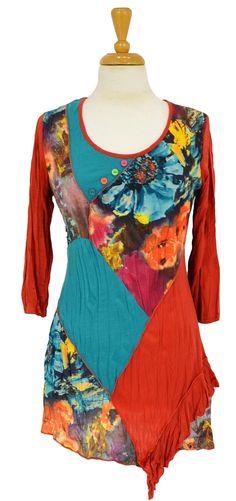 tunic top, tunic ilovetunicscom, blue floral, patch tunic