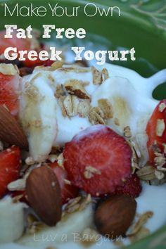 How to Make Fat Free Greek Yogurt - You won't believe how easy and fabulous this is!  And SO much Cheaper!  LuvaBargain.com