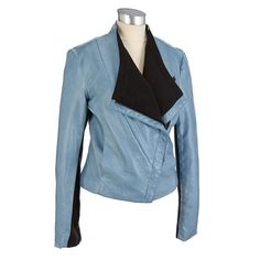 This animal-friendly faux leather jacket is designed with an asymmetrical zip front and knit insets on the sleeves creating a look that's edgy, cool and ready to rock. A lightweight layer that's trendy and modern.
