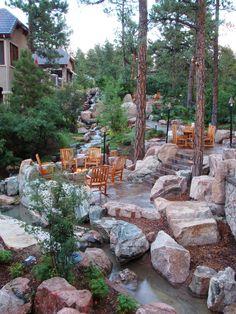 landscaping around rock, dream backyard, dream yard, outdoor space, garden, house outside