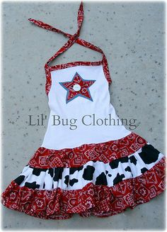 Custom Boutique Clothing Country Red Bandana Cow Tiered Halter Dress on Etsy, $39.99