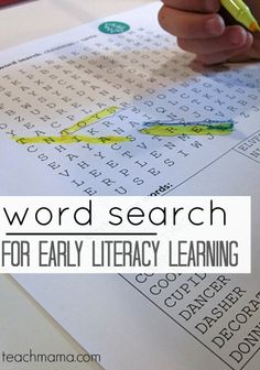 word searches for early literacy learning | teachmama.com | free printables #weteach