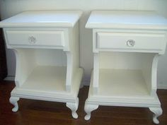 4 the love of wood: shabby chic white bed tables