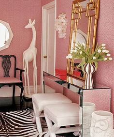 mirrors, mirror mirror, entry tables, table styling, ceramic animals, jonathan adler, zebra print, console tables, giraffes