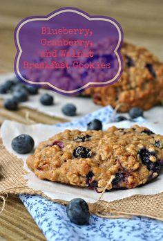 Blueberry, Cranberry, and Walnut Breakfast Cookies