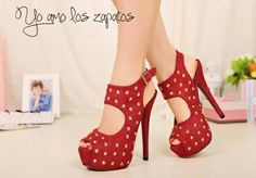Con tachas!  #HighHeels red, shops, names, mary janes, high heel, pumps, toes, heels, shoe