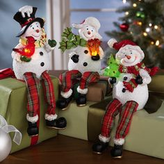Lighted Snowman Sitters