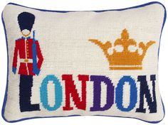 Jonathan Adler London Jet Set Needlepoint Pillow