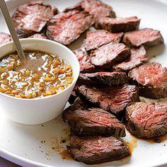 Hanger Steak with Green-Garlic Sauce | MyRecipes.com